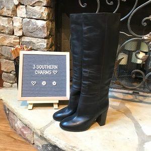 NWOT J. Crew Black Leather heeled knee Boots 5 1/2